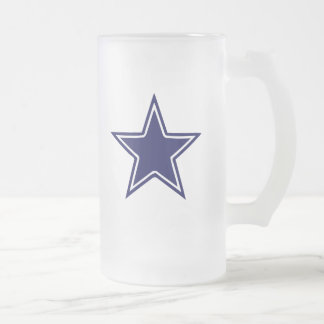 BLUE AND WHITE STAR 16 OZ FROSTED GLASS BEER MUG