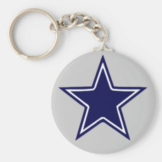 BLUE AND WHITE STAR BASIC ROUND BUTTON KEY RING