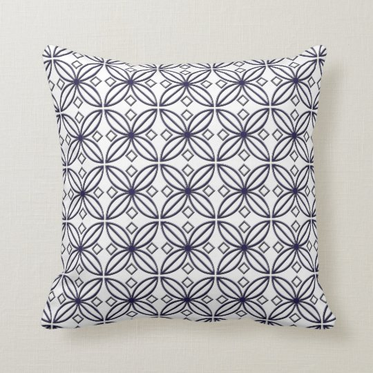 Blue and White Star Flower Design Throw Pillow