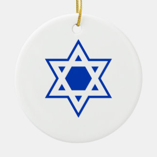 Blue and White Star of David Christmas Ornament