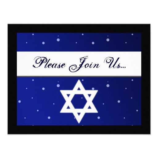 Blue and White Star of David Hanukkah Invitations