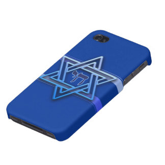 Blue and White Star of David Cover For iPhone 4