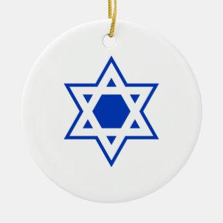 Blue and White Star of David Round Ceramic Decoration