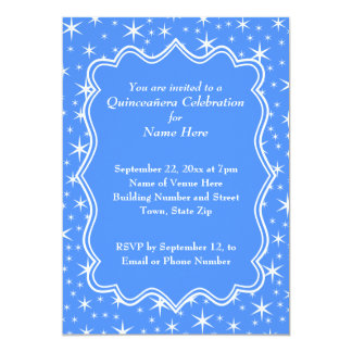 Blue and White Star Pattern Quinceanera 13 Cm X 18 Cm Invitation Card