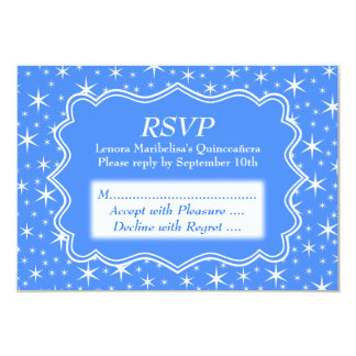 Blue and White Star Pattern Quinceanera 9 Cm X 13 Cm Invitation Card