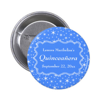 Blue and White Star Pattern Quinceanera Pinback Button
