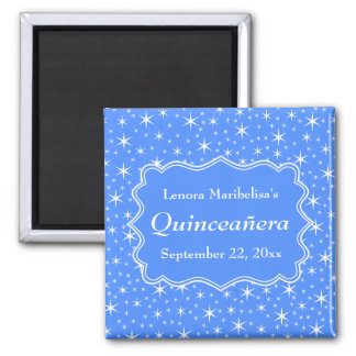 Blue and White Star Pattern Quinceanera Square Magnet