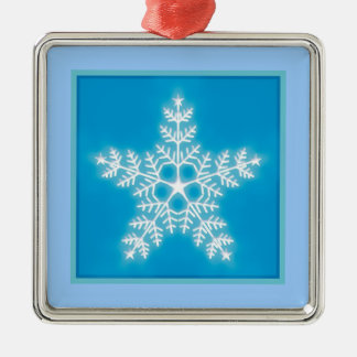 Blue and White Star Snowflake Christmas Ornament