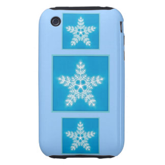 Blue and White Star Snowflake iPhone 3 Tough Cover