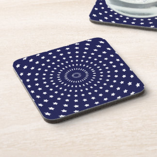 Blue and White Starburst Beverage Coaster