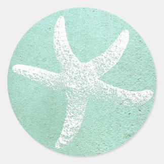 Blue and White Starfish Sticker