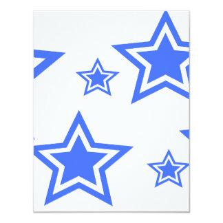 """Blue And White Stars 4.25"""" x 5.5"""" Paper Custom Invitation"""