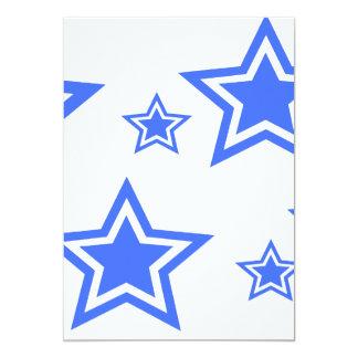 "Blue And White Stars 5"" x 7"" Paper 5x7 Paper Invitation Card"