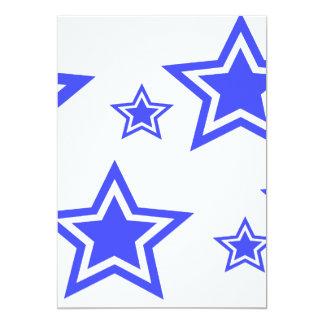 "Blue And White Stars 5"" x 7"" Paper 13 Cm X 18 Cm Invitation Card"