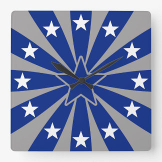 Blue and White Stars Wallclock