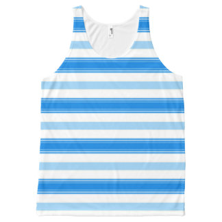 Blue and White Stripe All-Over Print Tank Top