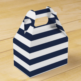 Blue And White Stripe Nautical Wedding Party Favor Favour Box