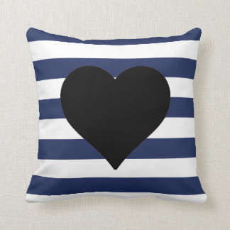 Blue and White Striped Black Heart Throw Pillow Cushions