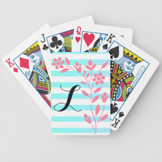 Blue and White Striped Floral Playing Cards