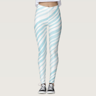 Blue and White Striped Leggings