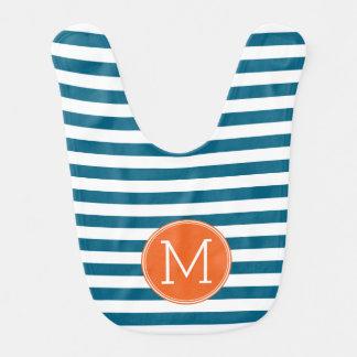 Blue and White Striped Pattern Orange Monogram Bib