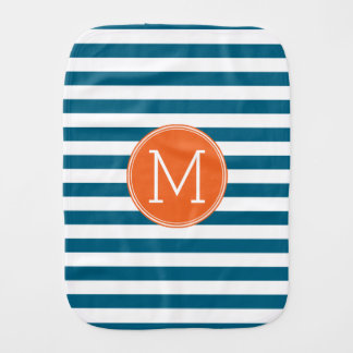 Blue and White Striped Pattern Orange Monogram Burp Cloth
