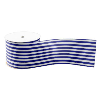 Blue and White Striped Ribbon Grosgrain Ribbon