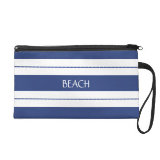 Blue and White Striped Wristlet Clutches