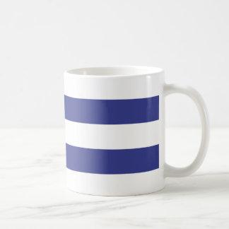 Blue and White Stripes Basic White Mug
