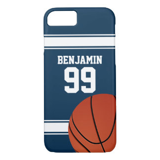 Blue and White Stripes Basketball Jersey iPhone 7 Case