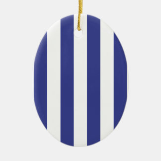Blue and White Stripes Ceramic Oval Decoration