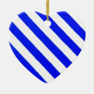 Blue and white stripes design ceramic heart decoration
