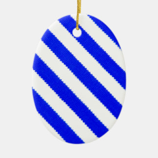 Blue and white stripes design ceramic oval decoration