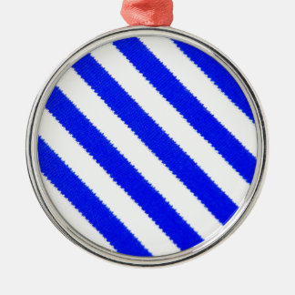 Blue and white stripes design christmas ornament
