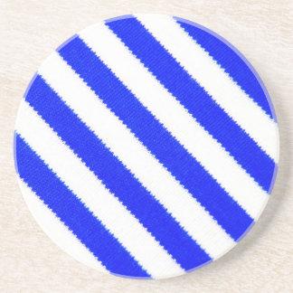 Blue and white stripes design coaster