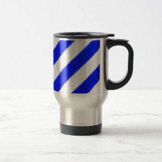 Blue and white stripes design stainless steel travel mug