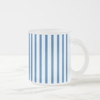 Blue and White Stripes Frosted Glass Mug