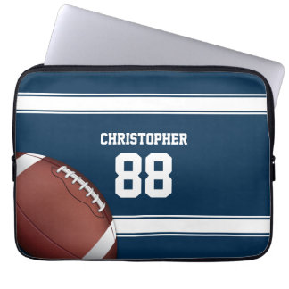 Blue and White Stripes Jersey Grid Iron Football Laptop Sleeve