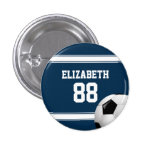 Blue and White Stripes Jersey Soccer Ball 3 Cm Round Badge