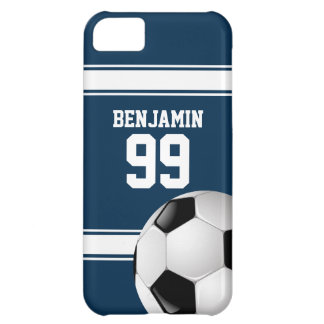 Blue and White Stripes Jersey Soccer Ball iPhone 5C Case