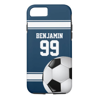 Blue and White Stripes Jersey Soccer Ball iPhone 7 Case