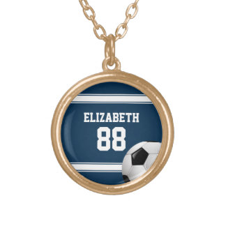 Blue and White Stripes Jersey Soccer Ball Round Pendant Necklace