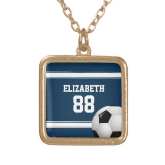 Blue and White Stripes Jersey Soccer Ball Square Pendant Necklace