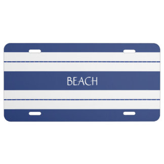 Blue and White Stripes License Plate