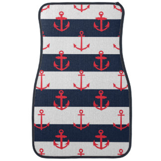 Blue and White Stripes, Red Anchors Pattern Car Mat