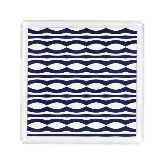 Blue And White Stripes Retro Pattern Acrylic Tray