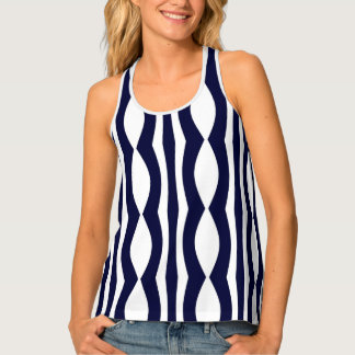 Blue And White Stripes Retro Pattern Tank Top