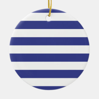 Blue and White Stripes Round Ceramic Decoration