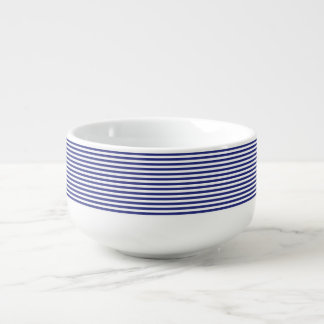 Blue and White Stripes Soup Mug
