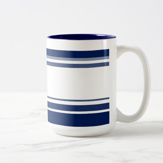 Blue and White Stripes Two-Tone Coffee Mug